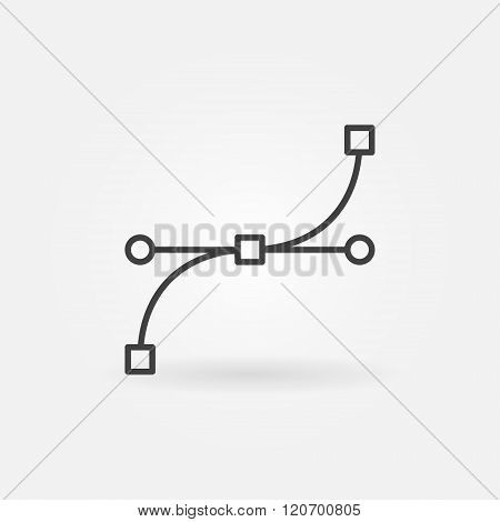 Bezier curve icon or sign