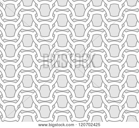 Abstract Seamless Geometric Vector Pattern - Entwined Grides On Grey Background