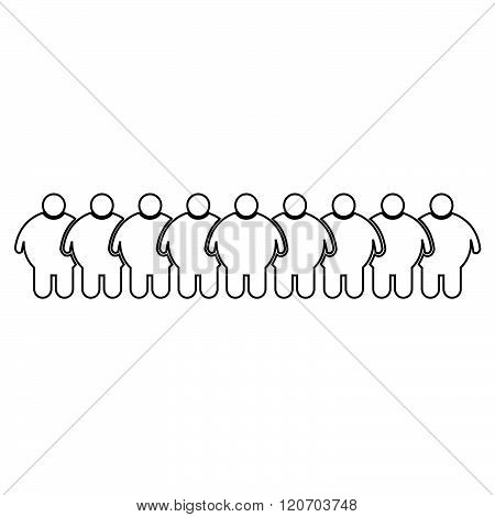 an images of Fat People Icon Illustration design black and white