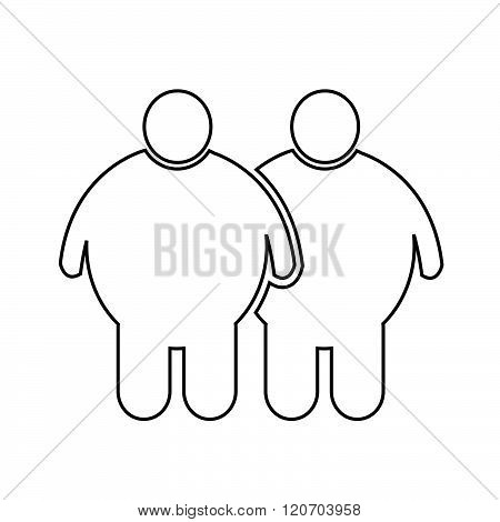 an images of two Fat People Icon Illustration design