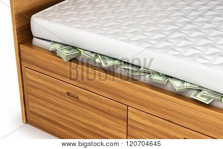 Money, Dollars Hidden Under A White Mattress. Economy Concept, Saving