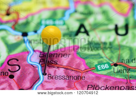 Bressanone pinned on a map of Italy