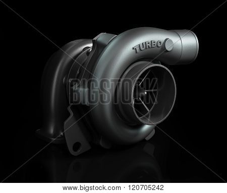 Steel Turbocharger Isolated On Black Background High Resolution 3D