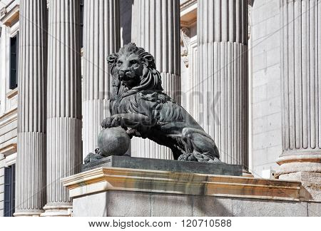 lion statue entrance to Congress of the Deputies Madrid Spain government building