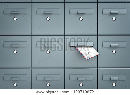 Mailboxes. In one of the mailbox received a letter