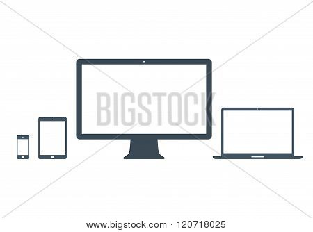 Mockup Gadget And Device Icons Set Gray Color On The White Background. Stock Vector Illustration Eps