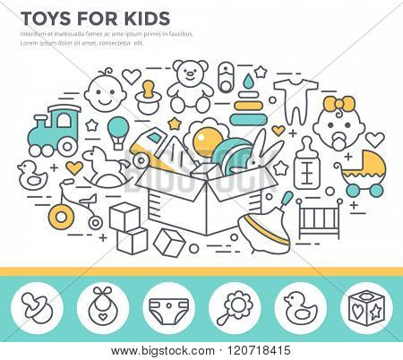 Toys and goods for baby concept illustration, thin line flat design
