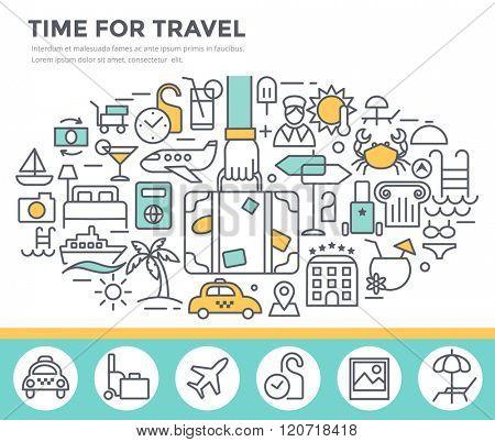 Travel concept illustration, thin line flat design
