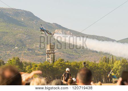 Melissa Pemberton doing aerobatics.