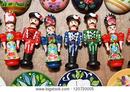 Wooden Dolls In Hungarian Folk Costumes As Souvenirs