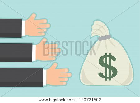 long awaited income revenue or salary. hands and bag of money