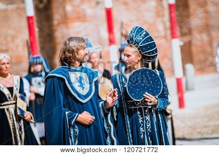 Young Couple Of Medieval Nobles On Parade