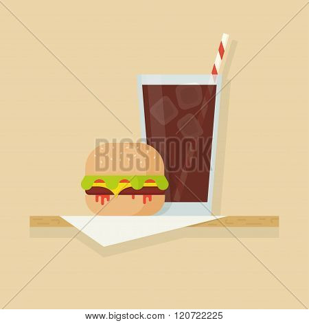 Hamburger And Drink Vector Illustration