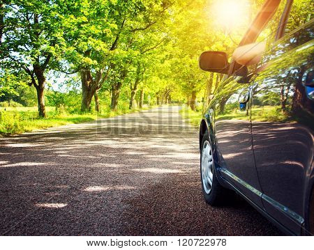 Car on asphalt road in summer