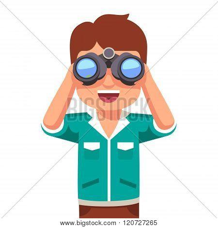 Happy boy kid looking through binoculars