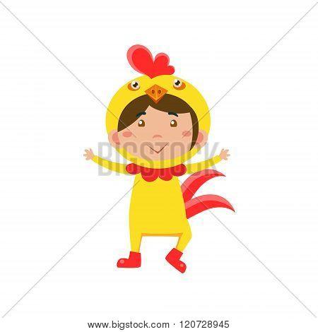 Child Wearing Costume of Chicken. Vector Illustration