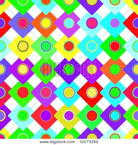 Vector seamless bright squares and circles background