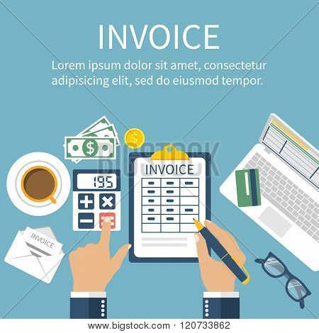 Invoice. Man At Table, Calculations On Payment, Bills, Receipts, Invoices.