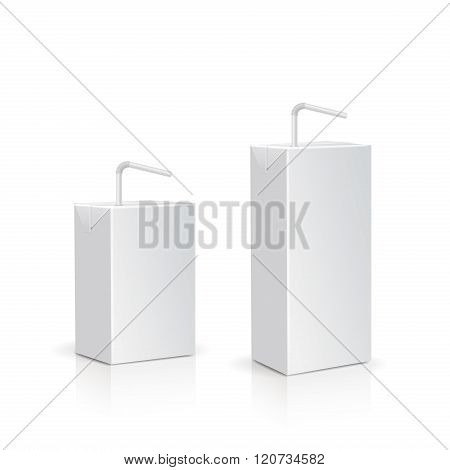 Juice or milk box with drinking straw. Vector.
