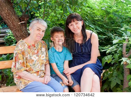 Grandmother, Grandchild And Great-grandchild