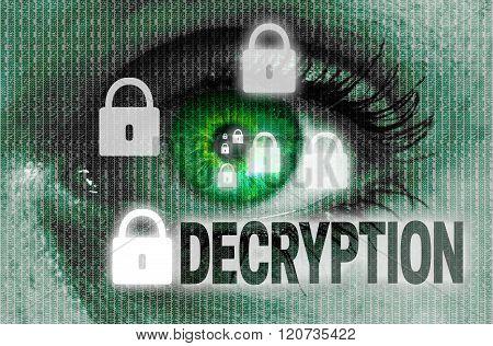 Decryption Eye Looks At Viewer Concept