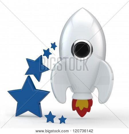 3D Render Of A Symbolic White Rocket With Flames