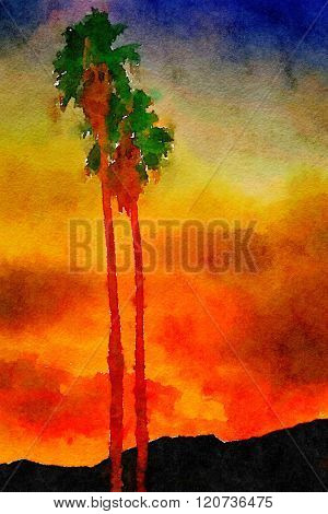 Beautiful Original watercolor Painting,Palm Trees In Palm springs