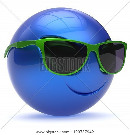 Smiley alien face sunglasses cartoon cute head emoticon monster ball blue green avatar. Cheerful funny smile invader person character toy laughing eyes joy icon concept