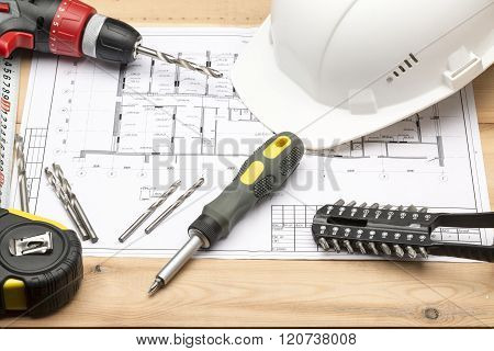 Set Of Different Tools For Repair And Construction