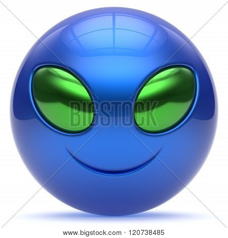 Smiley alien face cartoon cute head emoticon monster ball blue green avatar. Cheerful funny smile invader person character toy laughing eyes joy icon concept