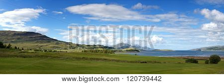 Isle of Skye panorama in summer. Skye is the largest and most northerly large island in the Inner Hebrides, Scotland, UK