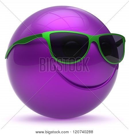 Smile face head ball cheerful sphere emoticon cartoon smiley happy decoration cute purple blue green sunglasses. Smiling funny joyful person character