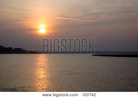 Sunset Approaches Over Water