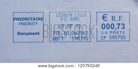 Prioritaire Priority Document - Priority mail postage meter from France poster