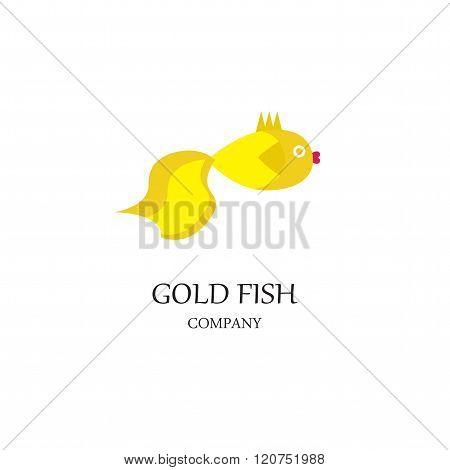 Gold fish. Image of goldfish isolated on white background. Goldfish logo of your store or company.