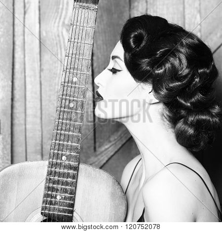 Retro Woman With Guitar