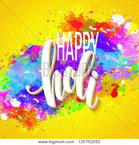 Happy Holi  festival of colors greeting background with  colorful Holi powder paint clouds and sampl