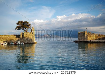 Panoramic view of the port of Nafpaktos town, Greece