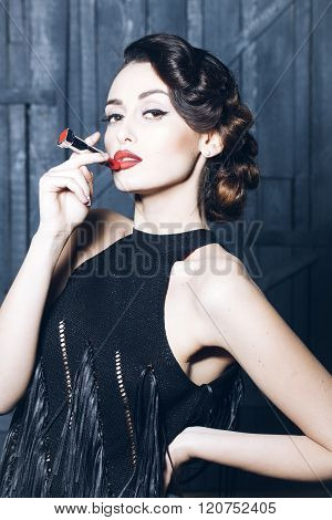 Young Retro Woman With Lipgloss