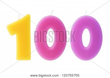 Colorful birthday candles in the form of the number 100 on white background