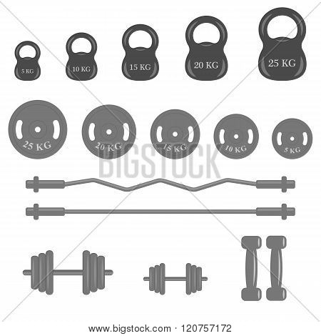 Set of fitness elements an a white background