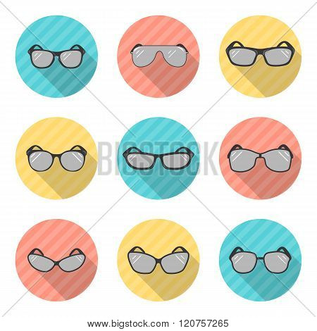 Set of vector sunglasses an a white background
