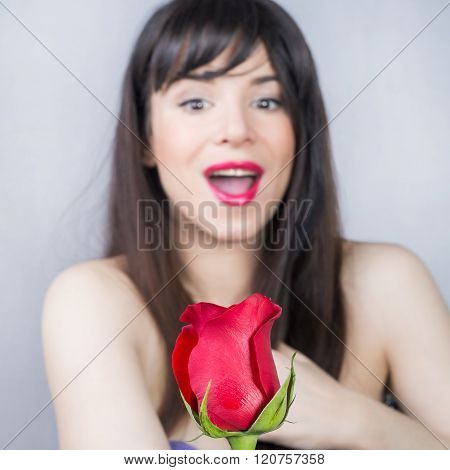 Girl and a rose