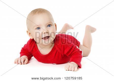 Baby Crawling Over White, Happy Kid In Crawlers Lying Down