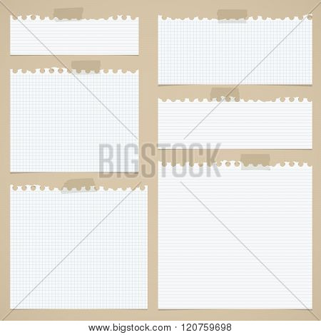 Pieces of torn white lined and squared notebook paper with sticky tape on brown background