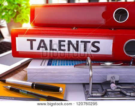 Talents on Red Office Folder. Toned Image.