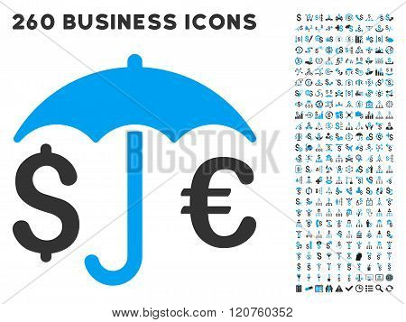 Financial Protection Icon with Flat Glyph Set