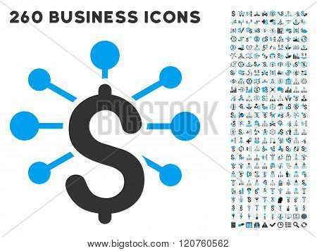 Financial Relations Icon with Flat Glyph Set
