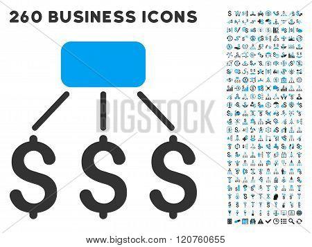 Financial Scheme Icon with Flat Glyph Set
