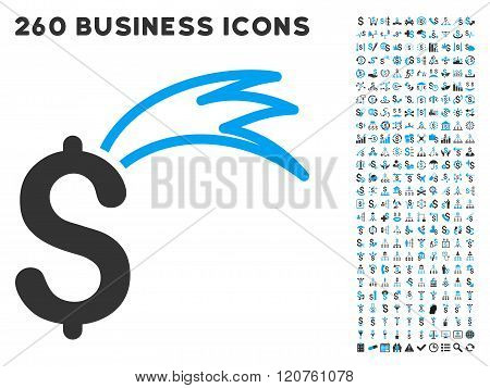 Fortune Falling Dollar Icon with Flat Glyph Set